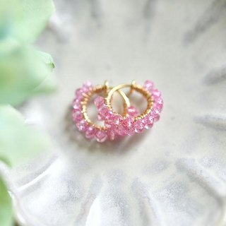 Sakura color earrings 2 pcs of topaz 2 hoop earrings November birthstone