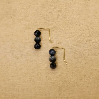 String Series Brass Blue Tiger Eye Drops Earrings Ear Pins Without Pierced Ears