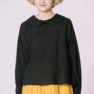 : EMPHASIZE embroidery straight embossed dot bow collar shirt - Black