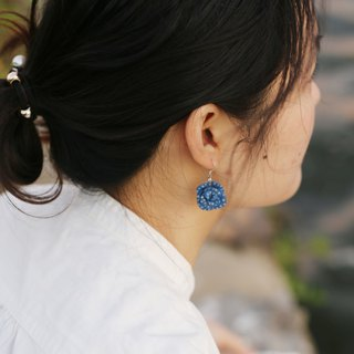 Original hand-cranked ceramic earrings blue rose ear clip sterling silver