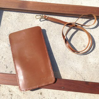 Mobile phone strap, you can put your travel card, card, hang your chest, identification hand sewing, leather iphone (when leather) caramel brown