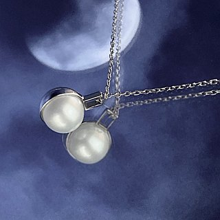 Half Moon Natural Pearl 925 Silver White Gold Necklace