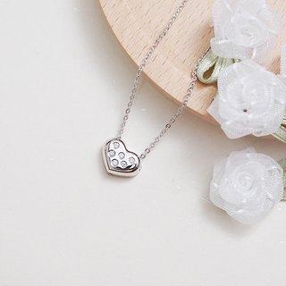 Flat love zircon necklace heart eight arrow hand made silver silver925 heart ハート