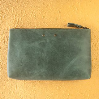 Colorful leather case, Leather pouch, Organizer case, Pencil case, Green
