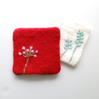 Wool felt flowers color coasters