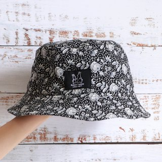 Black flower print fisherman hat