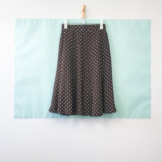 ... {Acorn Girls :: Vintage Half Skirt} Dark Brown Lining White Jade half knee skirt
