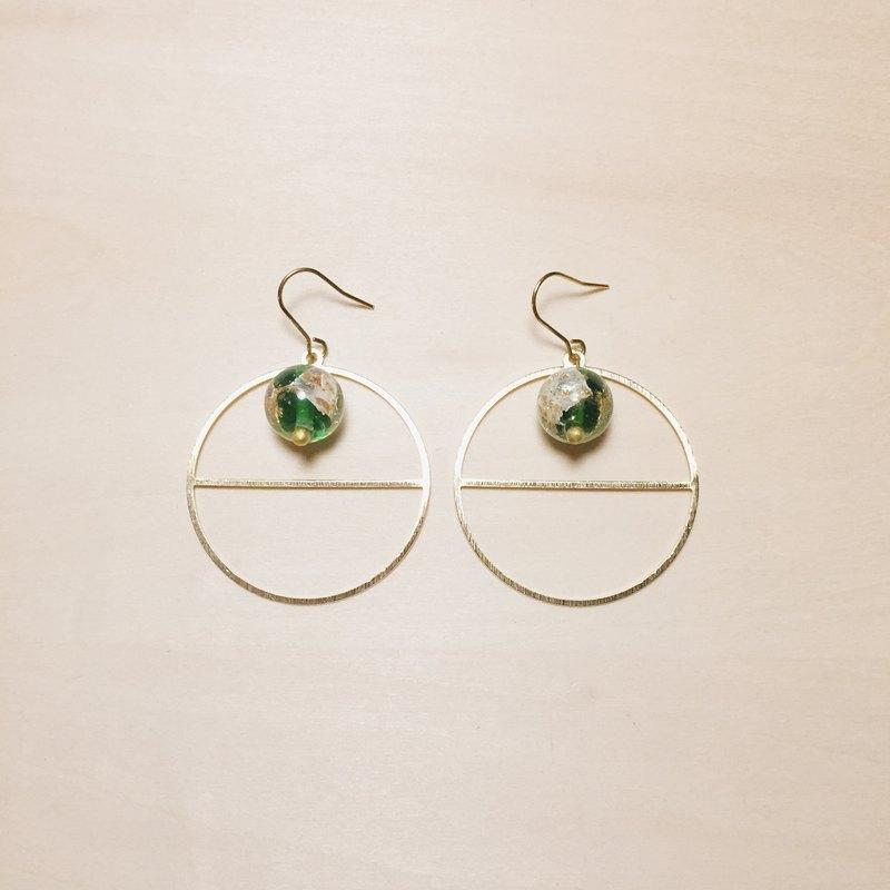 復古草綠琉璃線圈耳環