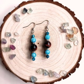 J002-natural stone bead string earrings red tiger eye sea sapphire crystal blue classical