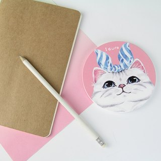 Icure absorbent coaster -i magic-hand-painted wind cat H6. blue ribbon American shorthair