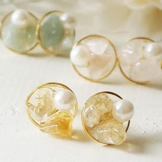 Natural stone and pearl earrings / earrings sheer