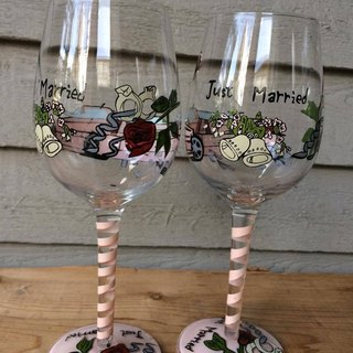 just married one pair hand-painted goblet