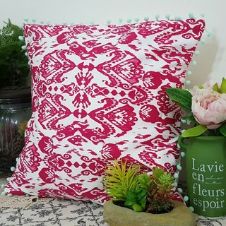 Scandinavian peach red flower pattern shallow lake water green hair ball pillow / pillow