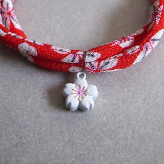 Japanese kimono dog collar & cat collar【Adjustable】Red & White Sakura Bell_S size
