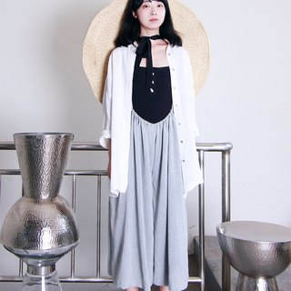 MAODIUL gray texture Ma rebel against the art of the wind belt with nine skirt pants