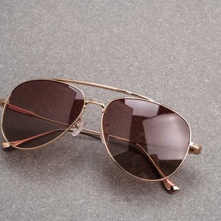 Flying sunglasses full titanium sunglasses sunglasses polarized uv400 classic gold tea big box