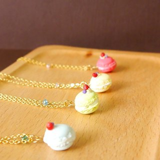 SL102 Light you up small strawberry macaroon necklace