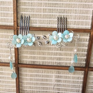 Hand-made ~ meow small plum shell comb one pair (bottom silver / light blue)