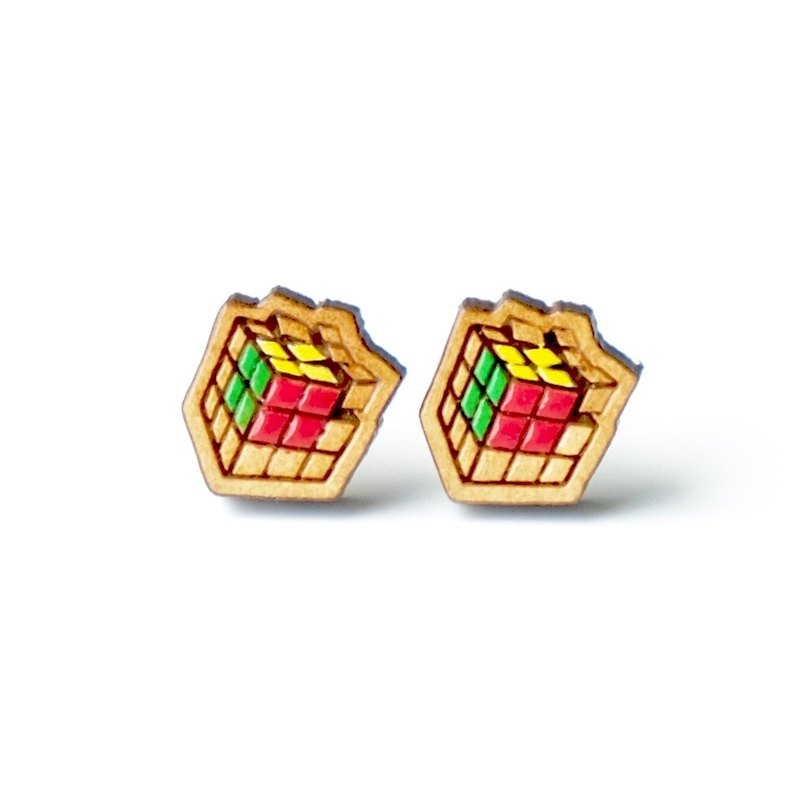 Painted wood earrings-Rubik's Cube