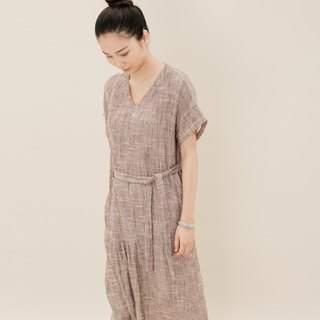 BUFU washed oversize long dress with belt   D160506
