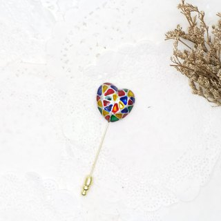Painted Brooch - Heart-shaped