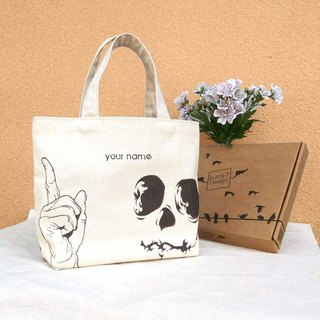 【Customized Name】 Skull Canvas / Hand Make Bag - Gift Tote Bag