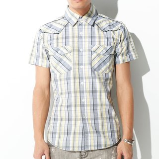 Cowboy double pocket white yellow and black plaid short-sleeved shirt