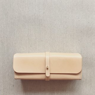 Square pencil case/glasses case original color Italy imported vegetable tanned cowhide handmade leather customized