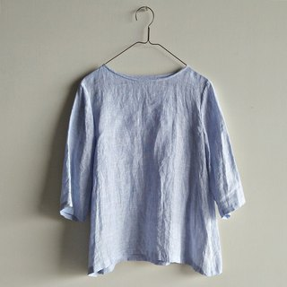 Shoulder seven-point sleeve shirt linen blue and white mixed color