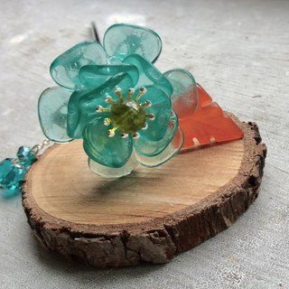 Miao hand made ~ classical rose hairpin (green)