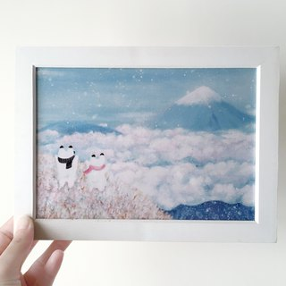 Hand painted rabbit Fuji mountain illustration copy painting with wood photo frame A5