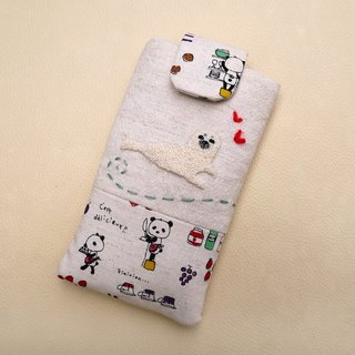 Small seal embroidery phone bag (M) for 5 inch mobile phone