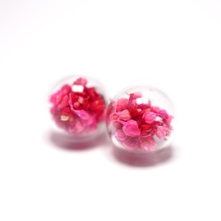 A Handmade red tone Xia grass glass ball earrings