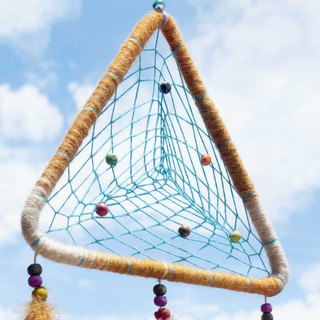 National style boho hand-woven cotton and linen rainbow dream catcher hanging dream Cather-triangle desert