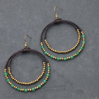 Jade Chandelier Circle Brass Earrings Stone Brass Beaded Woven Hoop Earrings