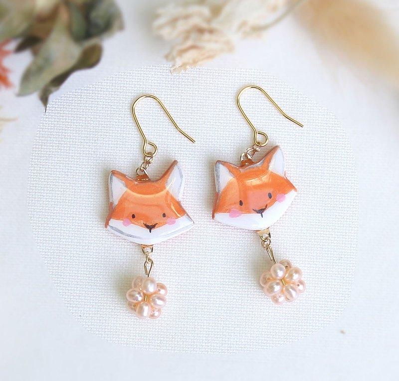 狐狸 淡水 珍珠 耳環 / 耳夾