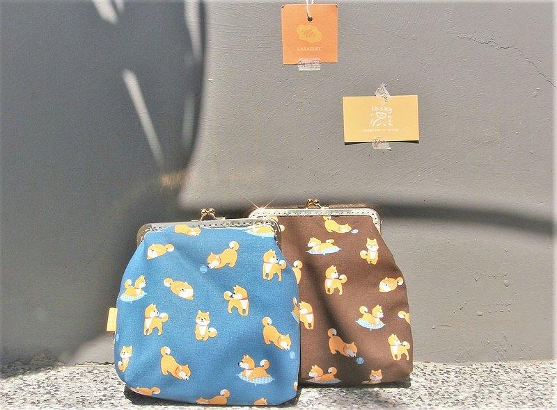 湛藍柴犬  l 隨身小方 口金包 l 限量 l 側揹 出遊 禮物 揹包