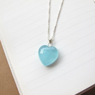 [Chan Blue Heart] Sea Water Sapphire x 925 Silver Chain - Hand-created natural stone series