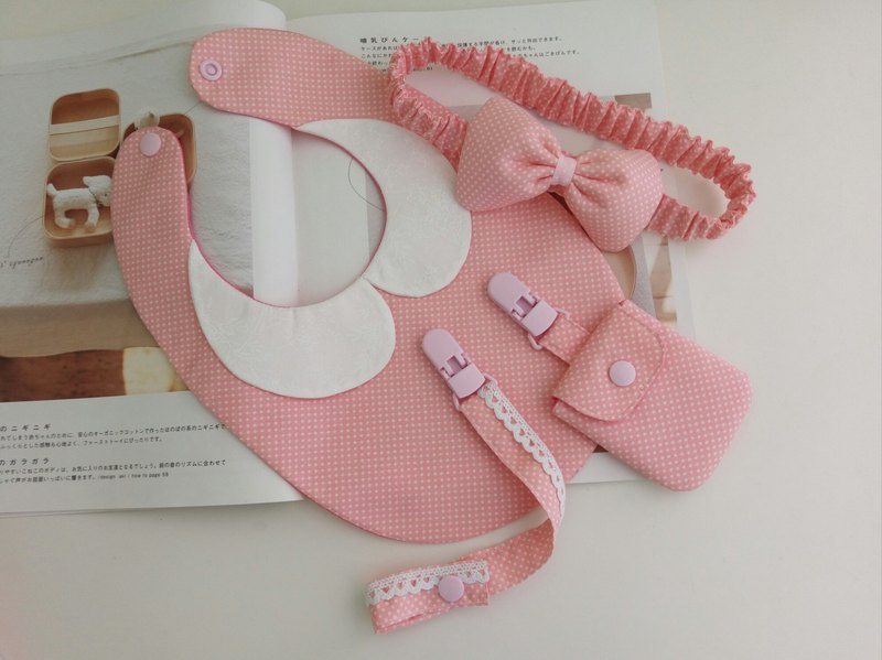 Foundation water jade moon gift collar bib + peace symbol bag + pacifier clip + hair band