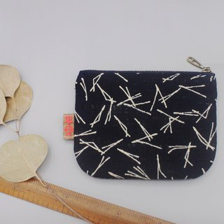 Peaceful little music wallet - branches (dark blue temperament), feel cloth