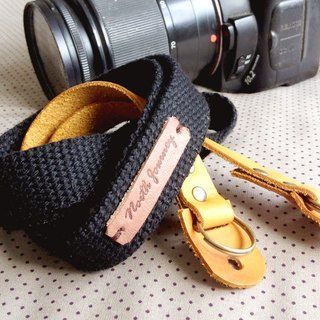 Camera Strap [Black Fabric Tan Leather] Hand Stamp ,Personalized ,Name ,Initials ,Customized