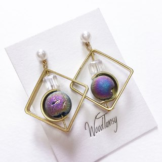 Diamond shape little planet plating colour agate Non allergic earrings