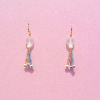 Pastel glass beads earrings