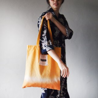 Sunset color bicolor - Canvas hand dyed Tote bag back
