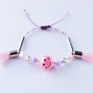 Smiley pink tassel string bracelet