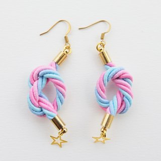 Pink and blue knotted rope earrings with tiny stars