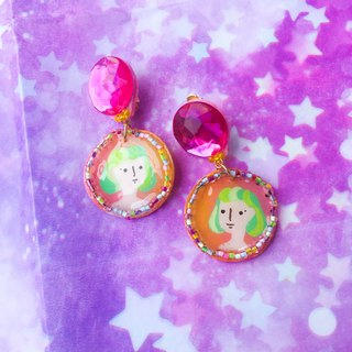 Hand-painted illustration universe starry night ear clip /earrings