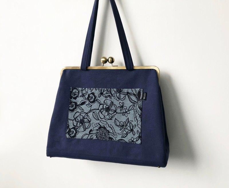 藍色巨塔 巨型口金包 手拿包 側背包 肩背包 媽咪包