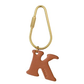 [ADOLE] Leather Letter Brass Keyring/Dripping (letter optional)
