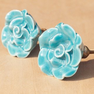 British creative gift retro hand-painted ceramic handle / ceramic doorknob / doorknob ceramic window - sky blue perspective Desert Rose